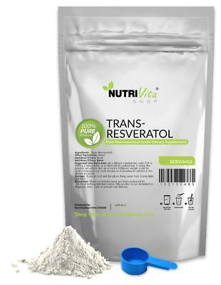4 Months Supply 100% PURE Trans Resveratrol Anti-Aging Powder KOSHER/USP GRADE