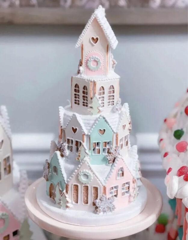 Pastel Lighted Christmas Gingerbread Sugar Castle