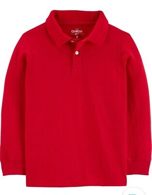 OshKosh Little Boys' Red Long Sleeve Uniform Polo Shirt - NWT 5T $18 retail