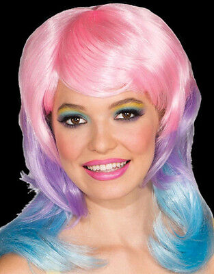 Dress Up Wig (Tri-color Cotton Candy Wig dress up party circus stage doll costume hair clown)
