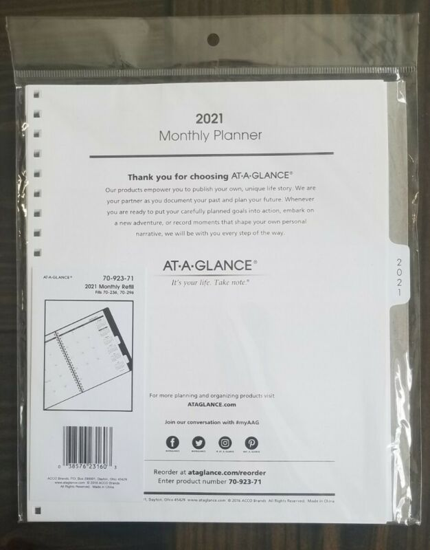 At-A-Glance 2021 MONTHLY Planner REFILL for 70-236 or 70-296 (9 x 11)