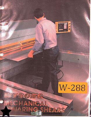 Wysong 1025 Shear Operations Maintenance Parts Wiring Gauging Manual 1987