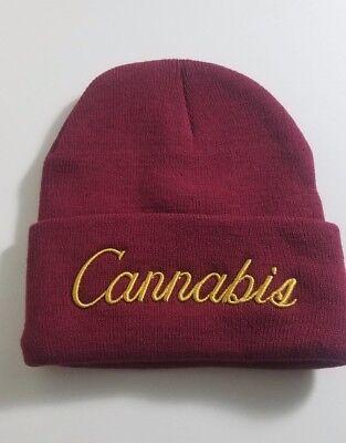 Cannabis Hat beanie, burgundy