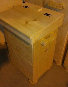 Wooden Kitchen Trash Bin Unfinished Pine Wood Use 19 24 Gal Bag