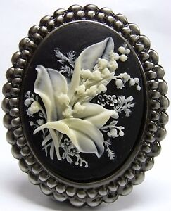Vintage Style Lily of the Valley Cameo Brooch / Pendant