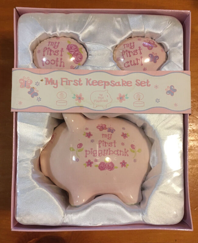My First Piggy Bank Tooth and Curl Box Gift Baby Girl Three Piece Set