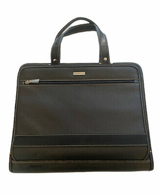 Euc Franklin Covey Black 3 Ring Binder Briefcase Planner Handle Zipper