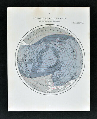 1872 Muller Astronomy Map North Pole Isotherms in January Arctic Winter Climate
