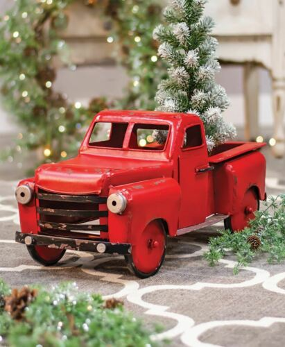 New Primitive Rustic Christmas LARGE VINTAGE RED TRUCK Metal Figurine 22""