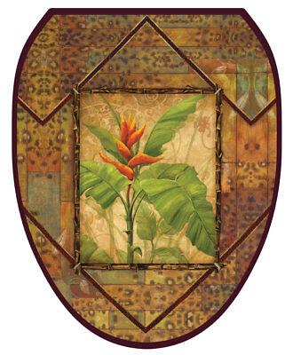 Toilet Tattoos Lid Decor Bird of Paradise Safari  Brown with Orange Flower](Tattoos With Birds)