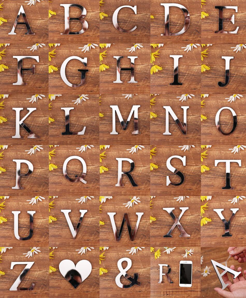 Home Decoration - Mirror Wall Sticker Mirror Effect 26 Alphabet Letters Decor Acrylic Silver DIY