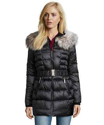 Box Quilted Coat (Betsey Johnson Black Box Quilted Coat Women's XS-S-M-L Optional Faux Fur Trimmed)