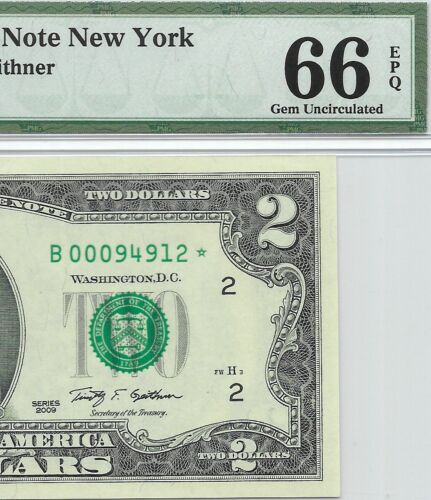 2009 $2 NEW YORK STAR ⭐️ FRN, PMG GEM UNCIRCULATED 66 EPQ, BANKNOTE 2 OF 2