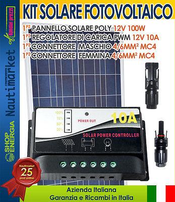 Pannello Solare 12V 100W + Regolatore 10A + Connettori MC4 #30200116