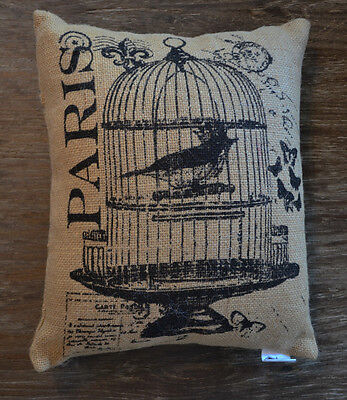 Jute Burlap Decorative Pillow with Birdcage & Butterfly Design