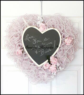 Valentine Decorations Ideas (Valentine's Day Chalk Board Deco Mesh Home Decor Wreath, {Handmade} - Gift)