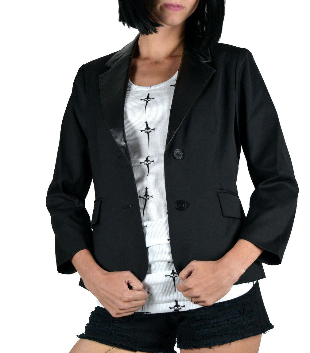 KILL CITY VEGAN LEATHER WORK SEXY ROCKABILLY SHIRT GOTHIC OFFICE JACKET BLAZER Clothing, Shoes & Accessories