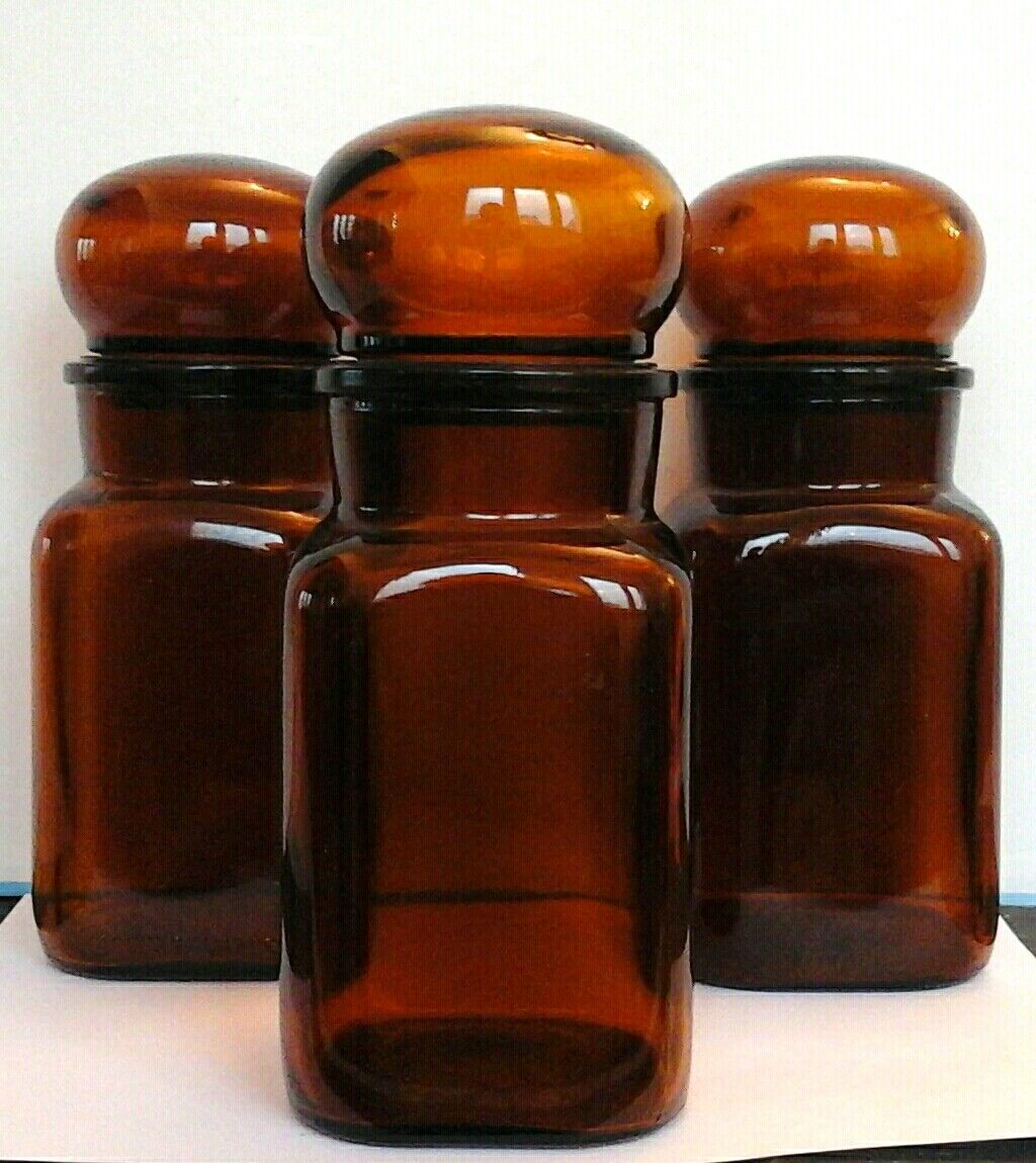 3 bocaux ambrés 20 cm