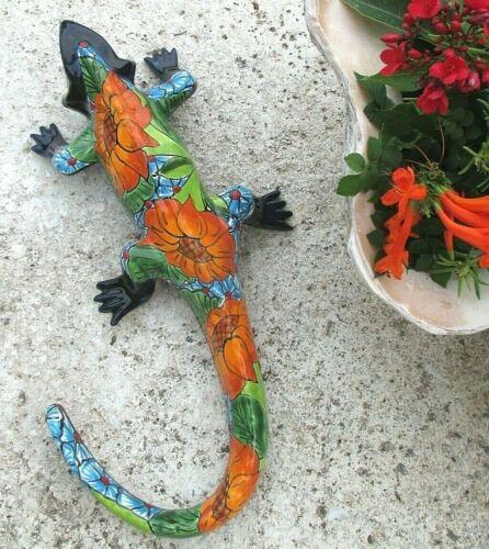 "Talavera Wall Lizard Iguana Mexican Art Pottery Animal Figure Sunflower 17"""