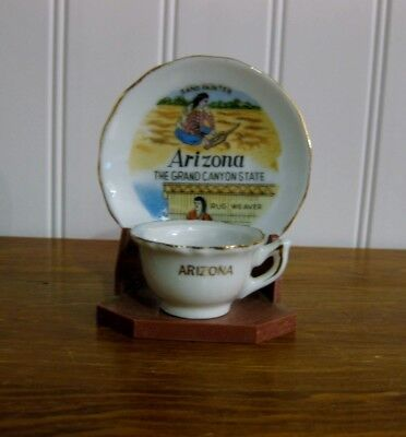 VINTAGE SOUVENIR MINIATURE TEACUP SAUCER AND STAND ARIZONA