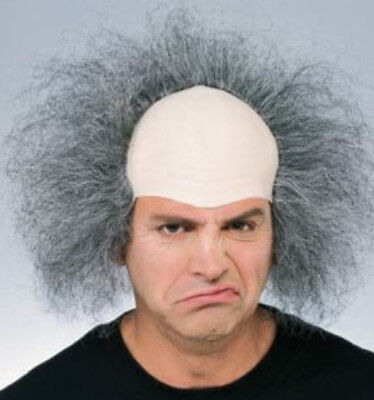 Bald Old Man Wig grey grumpy grandpa bad hair male pattern baldness headpiece  - Bad Clown Costume