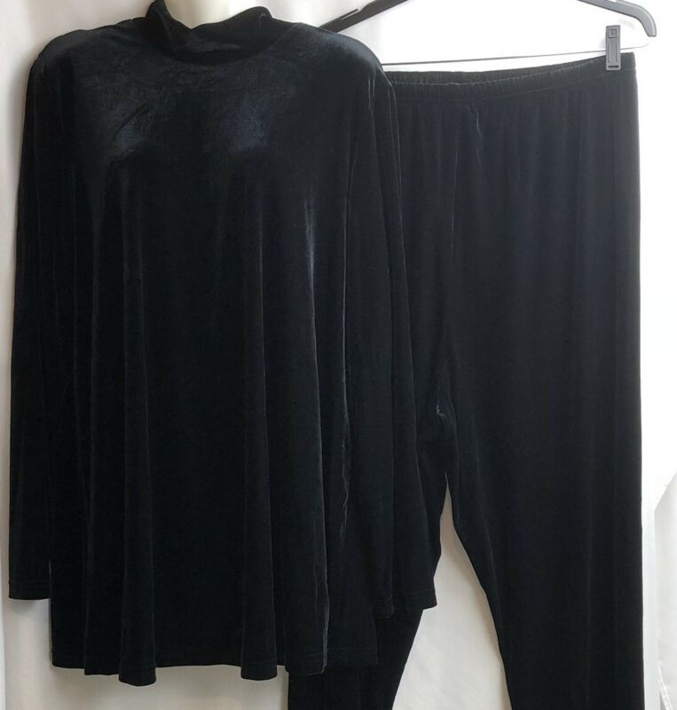 Baby And Me Maternity Pants Suit Women Black Velour Long Sleeve Holiday Career