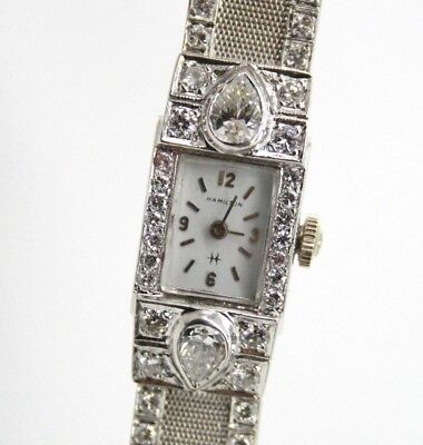 HAMILTON 14K WHITE GOLD ESTATE VINTAGE WATCH OVER 8ct DIAMONDS MESH BRACELET