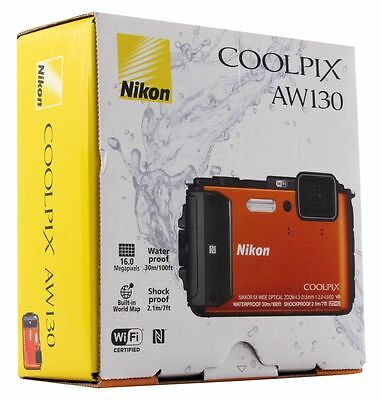New Nikon - Coolpix AW130 16.0-Megapixel Waterproof Digital Camera - Orange