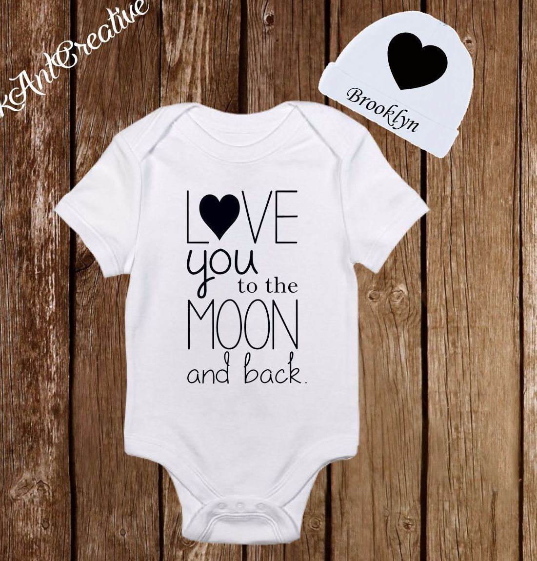 Love you to the moon & back Baby Clothes Onesies Hat Shower