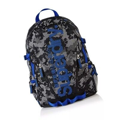SuperDry Blue Camo Mesh Backpack Grey/Cobalt Back to School Brand NEW!