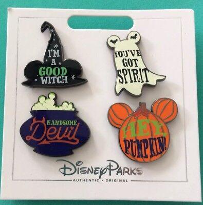 Disney Halloween Pin Set New On A Card