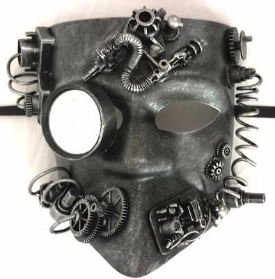 Steampunk Mask Knight Gladiator Industrial Horror Halloween Costume Silver - Halloween Costume Industry