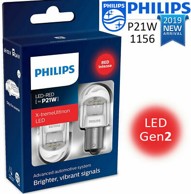 PHILIPS P21W LED RED 1156 X-treme Ultinon Gen2 Car Red stop Signalling Bulbs 12V
