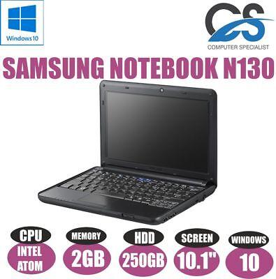 """WINDOWS 10 SAMSUNG NOTEBOOK N130 10.1"""" LAPTOP INTEL ATOM 2GB 250GB HDD"""