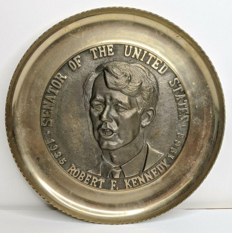 Robert F. Kennedy Brass Commemorative 3D Collector Wall Plate 1960