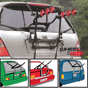 Car Boot 3 BIKE CYCLE CARRIER RACK To Fit Ford Fiesta Focus KA+ B-MAX C-MAX PUMA
