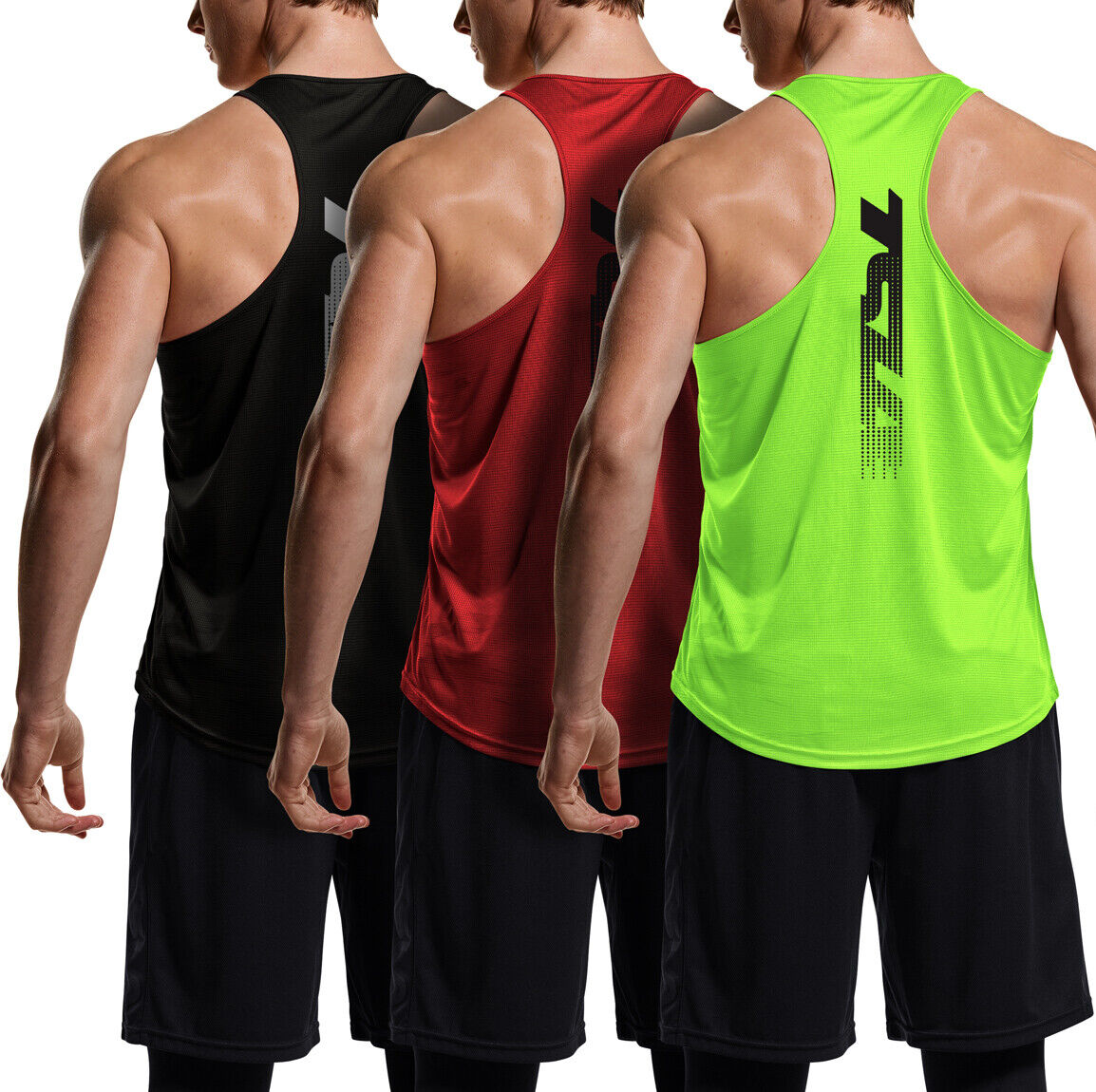 TSLA 3 Pack Men's Y-Back Muscle Workout Tank Tops, Athletic Gym Tank Top