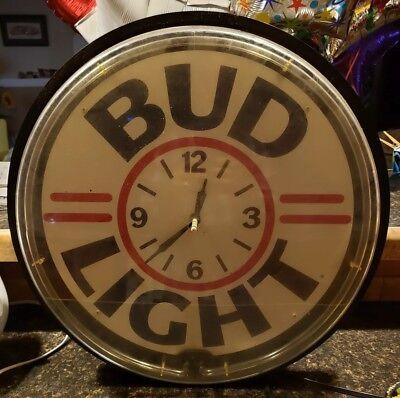 Bud Light Beer Neon Light Clock Sign Vintage Man Cave Bar Wall Mount Plexiglass