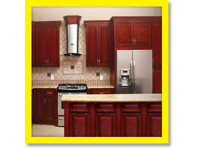 Cherryville All Wood Kitchen Cabinets, Cherry Stained Maple, Set apart Sale KCCH21