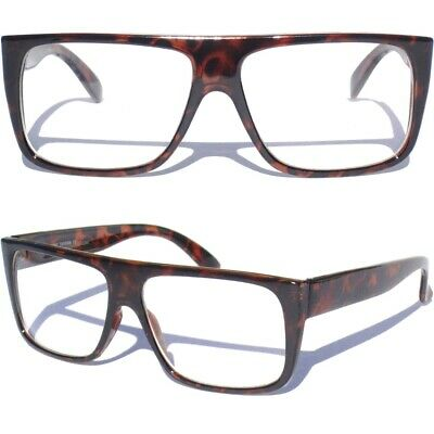 FLAT TOP CLEAR LENS EYE GLASSES Tortoise Shell Style Retro Aviator Men (Tortoise Shell Mens Glasses)