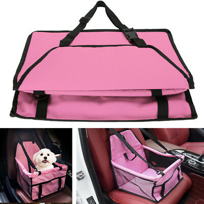 Pink Oxford Cloth Dog Puppy Carrier Basket Car Interior Seat Pet Bag Waterproof