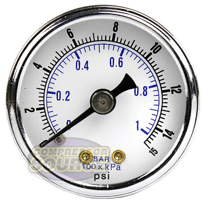 18 Npt Air Pressure Gauge 0-15 Psi Back Mount 1.5 Face Diameter