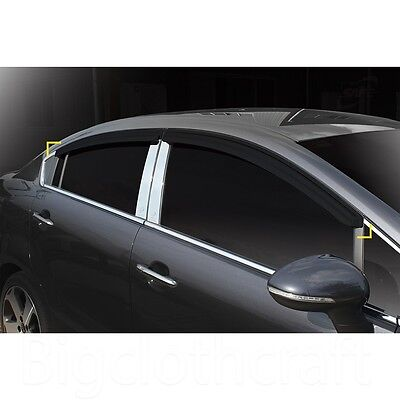 New Smoke Side Window Vent Visors Rain Guards for Kia Rio Pride 4door 2012-2015
