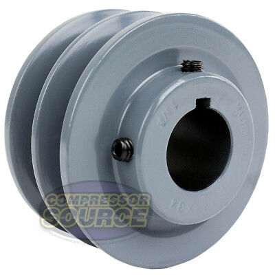 3.5 Cast Iron 1-18 Shaft Pulley Sheave Dual 2 Groove V Style B Belt 5l New
