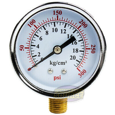 14 0-300 Psi 2.5 Side Lower Mount Air Pressure Gauge Compressor Hydraulic