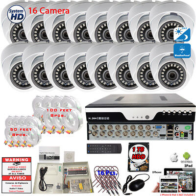 16 Ch HD CCTV Home Office Security Camera System All Weather Night Vision w/1TB