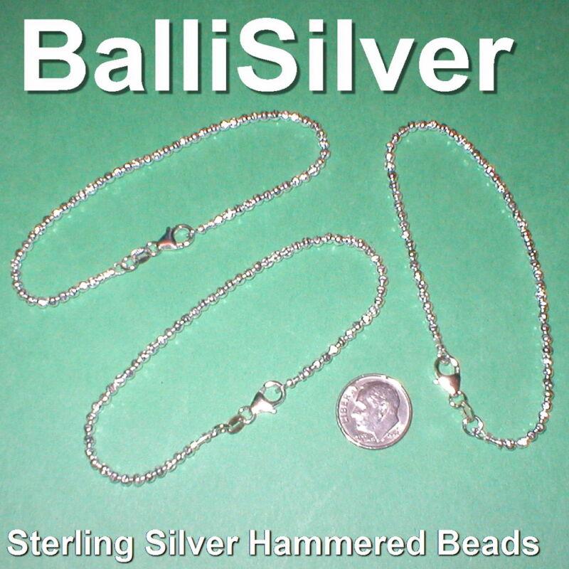 6 pcs Sterling Silver 925 3mm HAMMERED BEAD BRACELETS