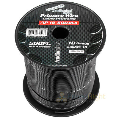 500' FT Spool Of Black 18 Gauge AWG Feet Home Primary Power Cable Remote Wire ()