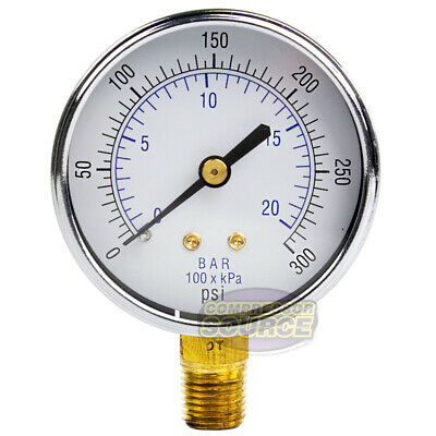 14 Air Compressor Hydraulic Pressure Gauge 0-300 Psi 2.5 Bottom Side Mount