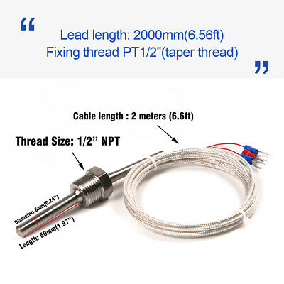 Rtd Pt100 Ohm Probe Sensor L 50mm Pt Npt 12 Thread W Insulation Lead Wire